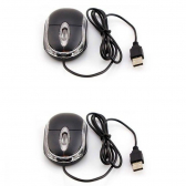 Kit 2X Mini Mouse Usb 1000 Led Azul Scroll Exbom Ms-10 Preto - Mkp000345000579