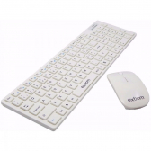 Kit Teclado+Mouse Wireless 2.4Ghz 1600 Branco Exbom Bk-S1000 - Mkp000345000616